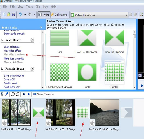 drag video transitions to timeline in windows movie maker
