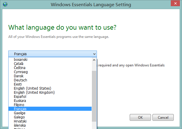 language selector dropdownlist of windows movie maker